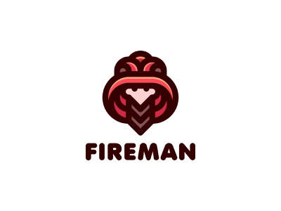 Fireman Logo lastspark label mark branding brand illustration logotype logo outline line profession head face man uniform helmet fire fireman firefighter