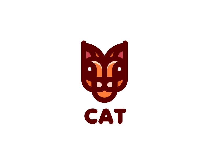 Cat Logo lastspark label mark branding brand illustration logotype logo outline line nature animal wild cat lynx head