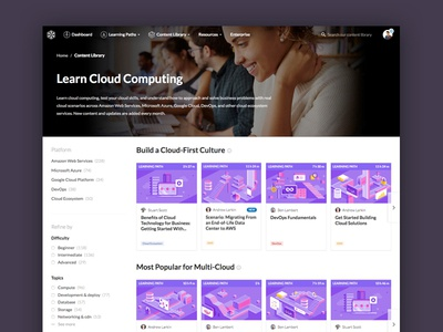 New Content Library filters academy cloud library content
