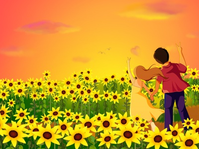 Sunflower Field : Love is in the air design graphic design vector illustration