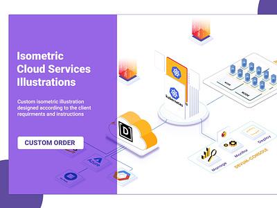 Isometric Cloud Services ui design illustration isometric camera isometric infographic isometric illustration adobe illustrator 3d illustration