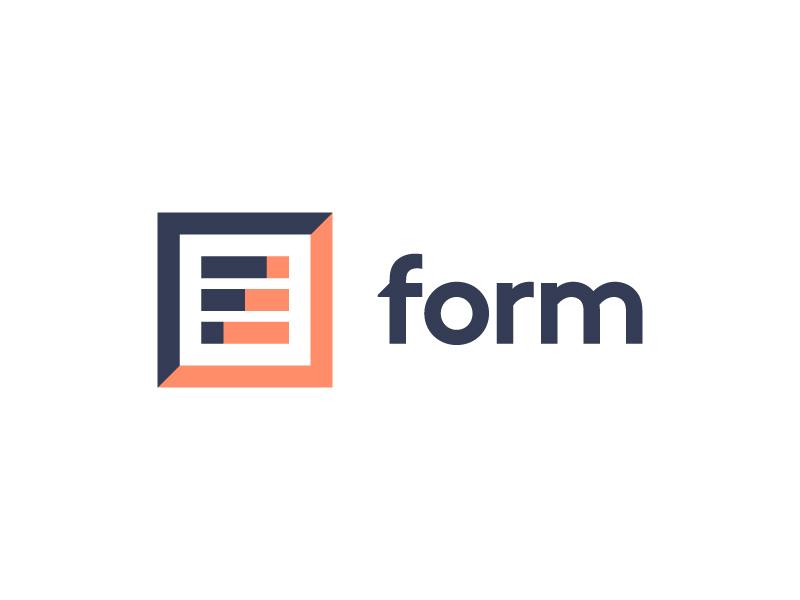 Form Logo form brown custom logotype indigo orange tangerine brand identity branding logo