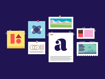 Creativity Loves Constraints blurple process workshop mood board illustration brand identity branding
