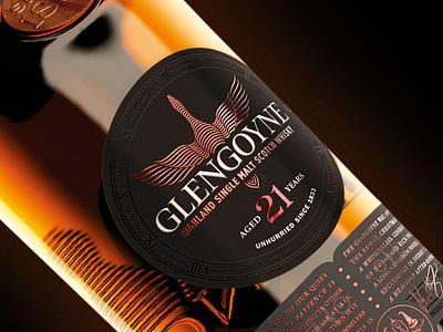 Glengoyne lock-up vector illustration packaging label lettering type logotype logo design branding