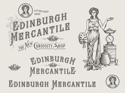 Edinburgh Mercantile Branding vector type vintage illustration design lettering typography logotype logo branding