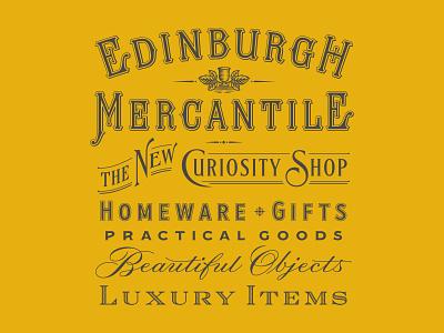 Edinburgh Mercantile lock-up vector illustration vintage type typography branding lettering logo design
