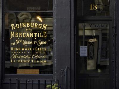 Edinburgh Mercantile window illustration vintage type typography branding signwriting lettering logo design