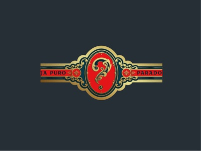 Cuantos Puros cigar band type vector illustration vintage typography branding lettering logo design