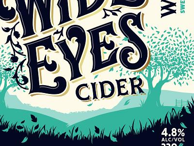 Wide Eyes Cider crop package label labeldesign identity retro illustration customtype lettering design branding logo