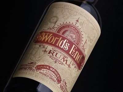 World's End Rum classic design ornate retro logo vintage typography type hand-lettering packaging design branding