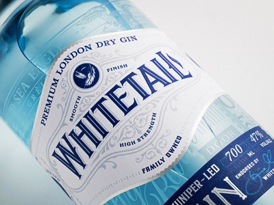 Whitetail Gin ornate filigree decorative vintage traditional etching illustration design branding logo label design packaging design