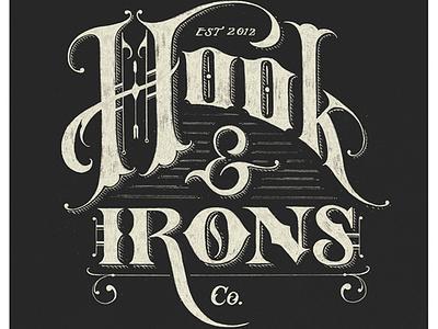 Hook & Irons Co. – Logo Sketch lettering hand-drawn vector texture logo design branding vintage retro detail sketch