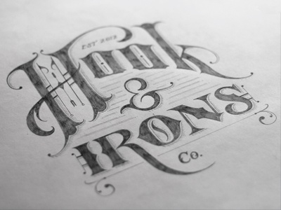 Hook & Irons Co. – Logo Sketch lettering hand-drawn vector texture logo design branding vintage retro detail sketch