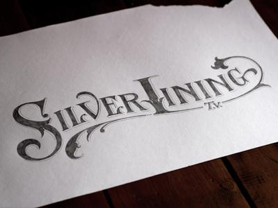 Silverlining TV lettering hand-drawn vector texture logo design floral branding vintage retro sketch
