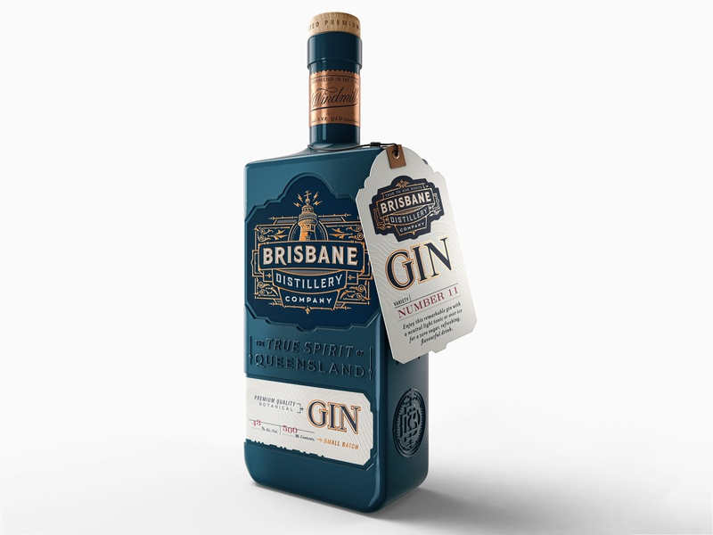 Brisbane Distillery Branding and Package – 1 hand-lettering luxury gin decorative design illustration typography type brand design brand identity logo branding
