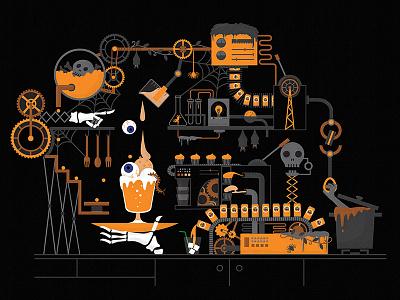 Halloween Candy Lab machine rube goldberg lab halloween illustration