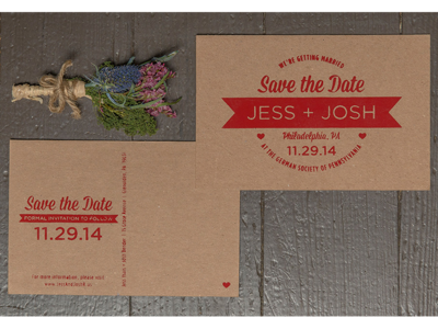 Save The Date wedding save the date screen print silkscreen red kraft paper chip board postcard