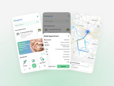 Hospital App clinic hospital maps list mobile clean card explore app ux design ui