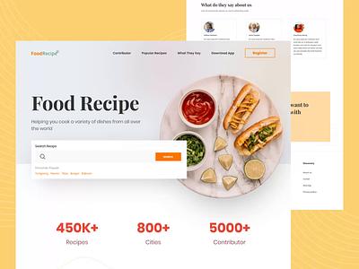 Food Recipe Landing Page web landing landing page food recipe recipe food clean explore app ux design ui animation