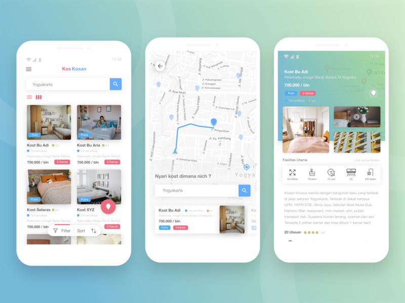 Exploration Kos Kosan Maps search ui ux design maps card adobe xd android explore ux design app ui