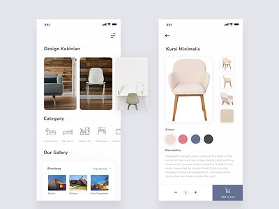 Exploration : Jualan Meubel furniture clean mobile app mobile ios card sketch ux design app ui