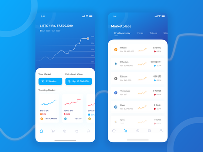 Trading Cryptocurrency Exploration chart list clean mobile ios card sketch explore ux design app ui