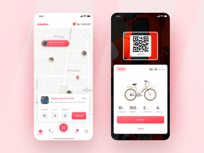 Exploration : Bike Sharing Apps sketch rent sharing bike qrcode ux maps mobile clean ios card explore design app ui