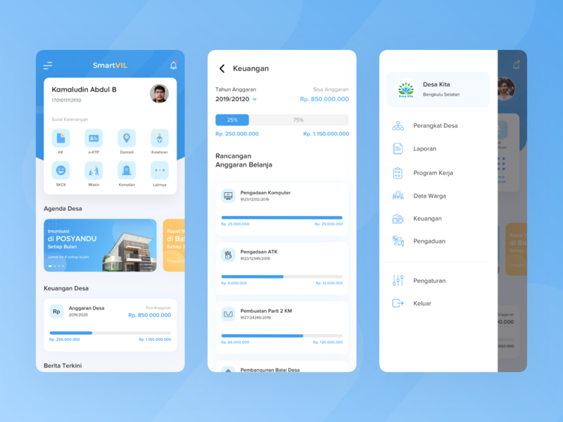 Smart Village App sidebar menu smart mobile clean ios card sketch explore ux design app ui