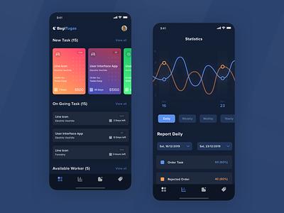 Project Management Apps statistics mobile clean ios card sketch explore ux design app ui