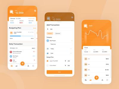 Financial Management App budgeting financial mobile clean ios card sketch explore ux design app ui