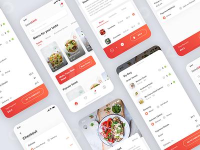 Salad Apps market vegetable salad mobile clean sketch ios card explore ux design app ui