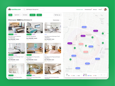 Exploration Searching Page Mamikos.com search maps hotel figmadesign rent webdesign web searching figma explore ux design ui