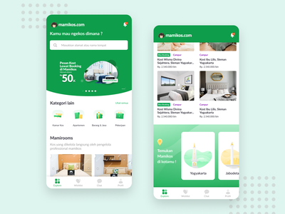 Home Exploration Mamikos App illustration homepage home rent android mobile clean explore app ux design ui