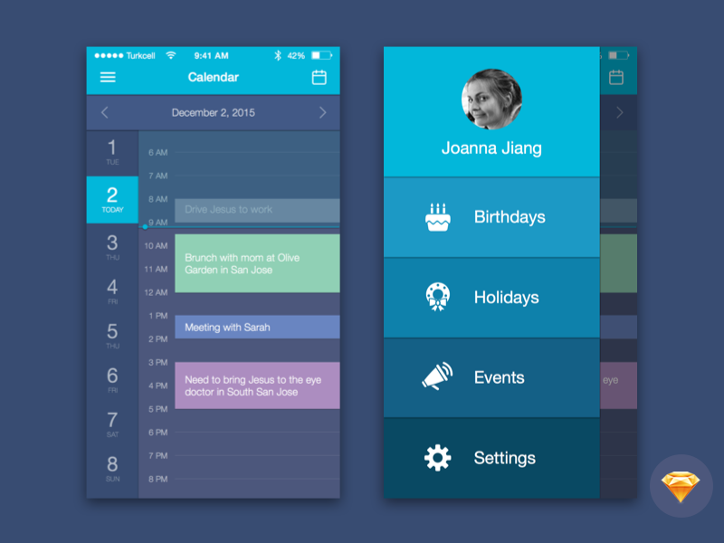 free sketch file for download calendar mobile ui by joanna jiang