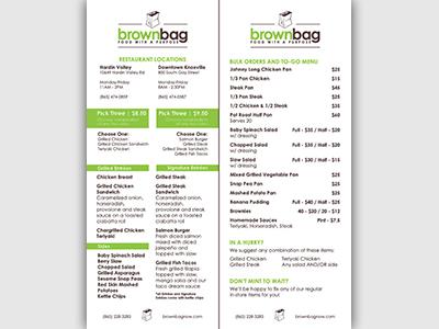 Brown Bag Restaurant Menu