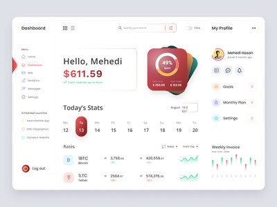 Cryptocurrency Dashboard UI Concept | Banking Dashboard wallet crypto exchange crypto website bitcoin wallet dashboard ui web design dashboard financial uiux admin panel uiux banking net banking finance minimalist interface landing page dashboard login