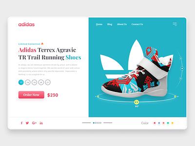 Adidas Shoe Landing Page | Shoe Website Design converse kicks fashion web design ux ui mockup shoe store shopping ecommerce puma nike adidas landing page design shoe
