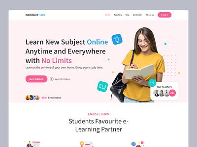 Landing Page Concept for Online Study Platform | Web Design web design landing page ux ui school study students learning e learning online study product design app design homepage