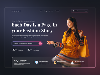Clothing Store Web UI for Gucci branding product design mobile typography mockup ecommerce website home page landing page ux ui web design women fashion shopping fashion clothing brand gucci clothing company style online shop
