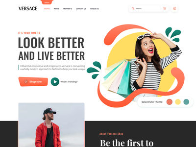 Clothing Store Web UI for Versace outfit women fashion men fashion cloth style gucci versace clothing brand shopping fashion mobile ecommerce minimal home page product design landing page ux ui web design branding