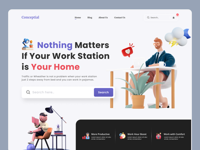 Agency - Remote Work Landing Page corporate digital startup marketing freelance typography minimal home page product design landing page ux web design ui covid - 19 lockdown remote work pandemic agency work from home illustration