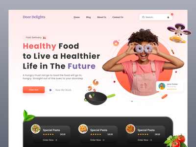 Food Delivery Landing Page chef app food and drink snacks typography minimal home page product design landing page ux ui web design food order foodie cooking burger pizza restaurant food delivery food delivery app