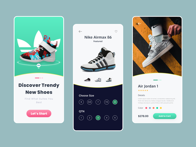 Shoes App Design Concept online store fashion ios reebook illustration design minimal product design ux ui nike air max footwear sneakers adidas nike shoes mobile shoe app app ecommerce