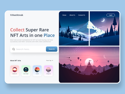 NFT Art Collection Landing Page Concept startup typography trading auction bitcoin illustration minimal home page product design landing page web design ux ui token ethereum rarible nftart cryptoart nft