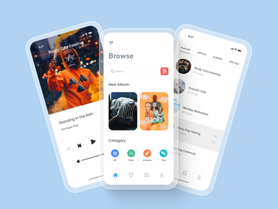 Music Player App Design Concept clean typography minimal home page product design landing page web design ux ui podcast spotify radio musician album art band album player music