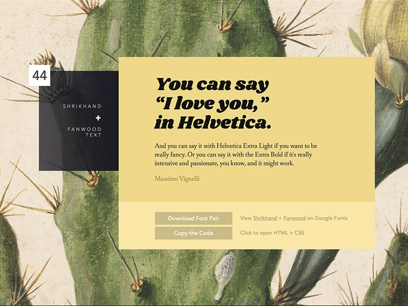 Ultimate Google Fonts Pairing // 44 by Lou Levit on Dribbble