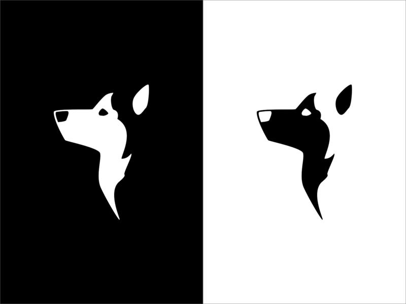 Husky inktober inktober2019 negativespace design flat vector icon logo illustration