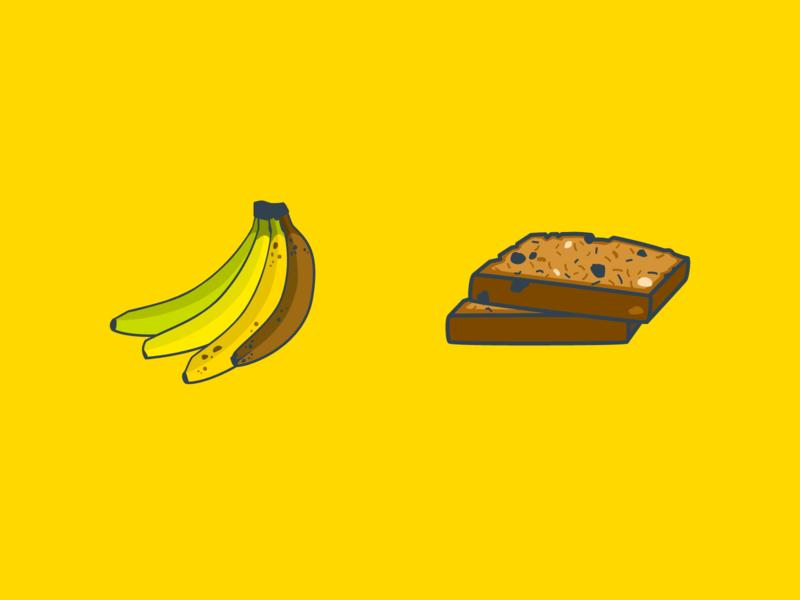 Banana + Bread banana bread bread bananas ripe banana fruit illustration fruit flat illustration design inktober2019 inktober