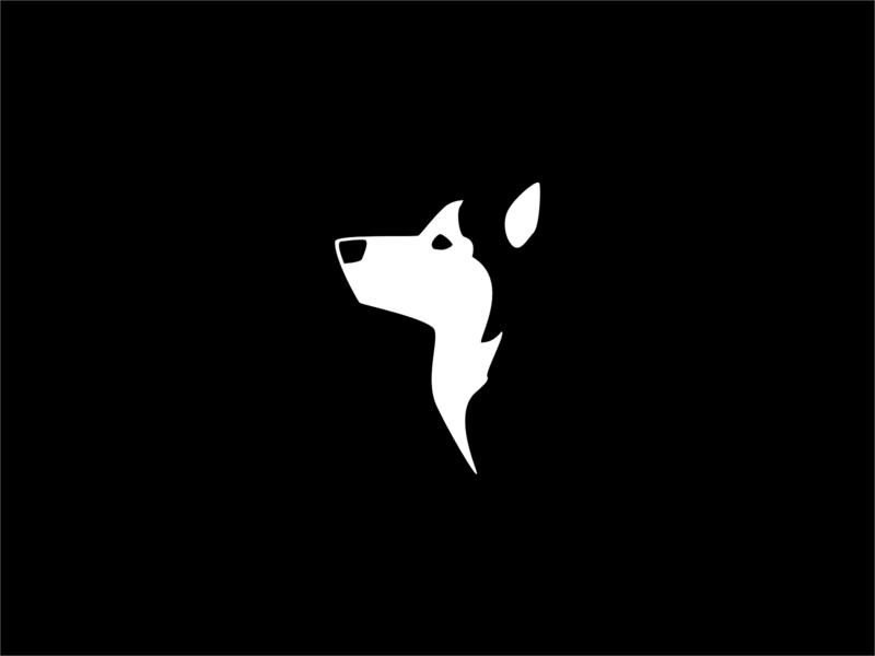 Husky illustration animal logo animal flat logo branding negative space logo negativespace dog logo dog husky design inktober2019 inktober