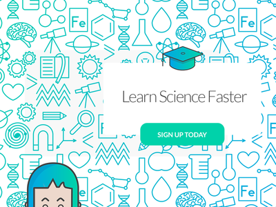 Science Yay! signup gradient learn graduation cap scholar pattern color girl faster science